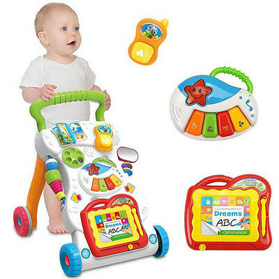 2 In 1 First Steps Baby Walker Sounds and Lights Fun Push Along Tackle Wa