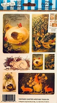 Vintage Easter- e-z rub on transfers Sheet - (Decal) NEW