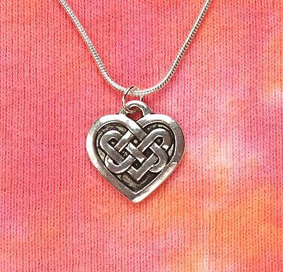 Celtic Knot Heart Necklace, Icovellavna Irish Charm Pendant Endless Love Braid