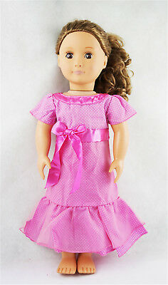 Fit For 18'' American Girl Pink Wave Points Party Long Maxi Dress Doll Clothes
