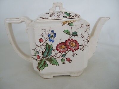 Antique handpainted floral china teapot made in England