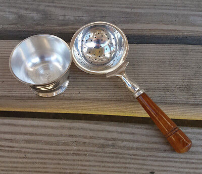 Antique Vintage Wooden Tea Strainer Silver Plated EPNS & Drip Tray for Loose Tea