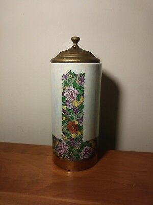 Art Deco Porcelain Flower and Gold banded Iridescent Covered Cylinder Container