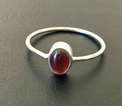 925 Sterling Silver Garnet Ring Gemstone Stack Stackable Cabochon US 5 - 11