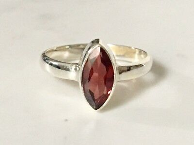 925 Sterling Silver Garnet Ring Faceted Gemstone Marquise Stack US Size 6 7 8 9
