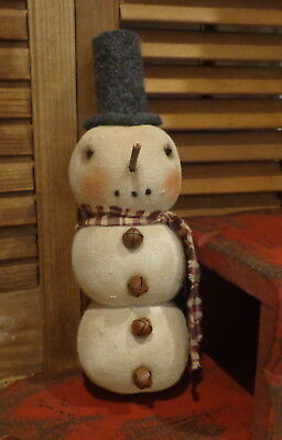 Primitive Round Stacked Snowman*Wool Top hat*Burgandy Scarf*Ornie*Cupboard Tuck*
