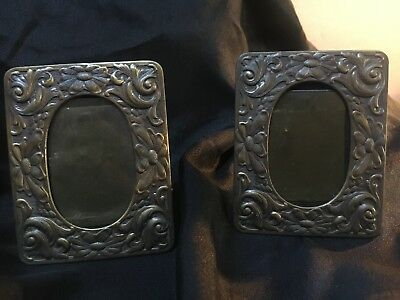 "Lot 2 Vintage Miniature Ornate Metal  Picture Frames Deco 3""x2"" in"
