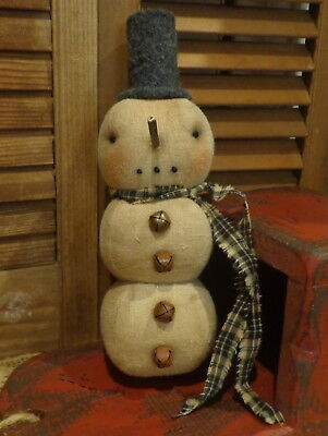 Primitive Round Stacked Snowman*Wool Top hat*Black Scarf*Ornie*Cupboard Tuck*