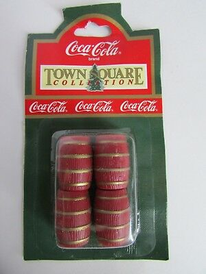 Coca Cola Coke Town Square Collection 4 Red Barrel Kegs Christmas Accessory NOS