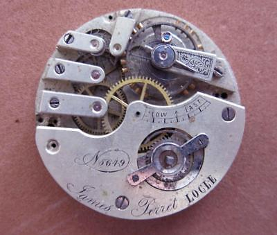 ANTIQUE 45.1MM POCKET WATCH MOVEMENT CONE SHAPE HAIRSPRING by JAMES PERRET PARTS