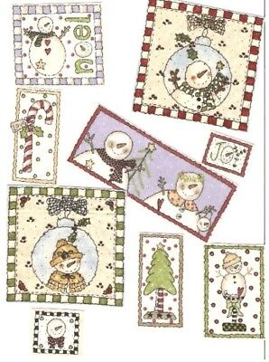 Country Snowmen Patches - Iron On Fabric Appliques