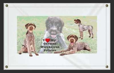 I Love My German Wirehaired Pointer Dog Sign Banner-Personalize w your Pet Pics.