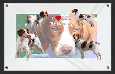 I Love My Brittany Dog Sign Pet Banners--Personalize using your Pet Pics.