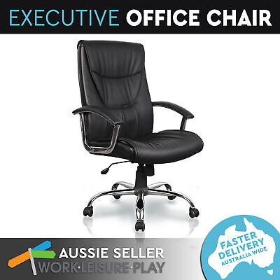 Executive Office Chair Computer High Back PU Leather Black Gas Lift