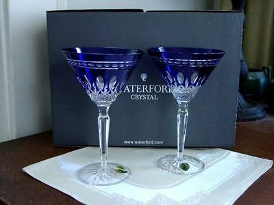 Waterford Crystal Clarendon Cobalt Blue Martini Glasses - New / Box!