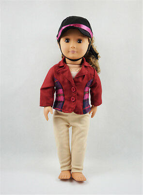 Fit For 18'' American Girl Lattice Coat Jacket Long Pants With Hat Doll Clothes
