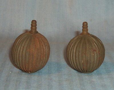 Pair Art Deco Sphere Curtain Rod Ends