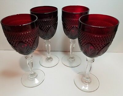 "Set of 4 Cristal D'Arques Ruby Red Crystal Stem 8"" Water Wine Glass Goblets 2of2"