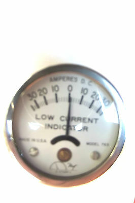 """12 Hoyt 763  Induction Ammeter 30Amp,2""""diamet,lay On Battery Cable,made In Usa."""