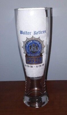 NYPD Retirement Beer Glass New York City NYC Police Detective