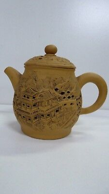 Asian Antique Japanese Pottery Teapot Incised Carved Decorative