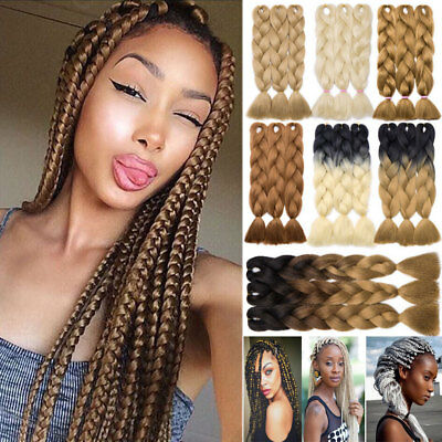 "5 Bundles 24"" 100g Ombre Xpression Jumbo Braiding Afro Hair Extensions as human"
