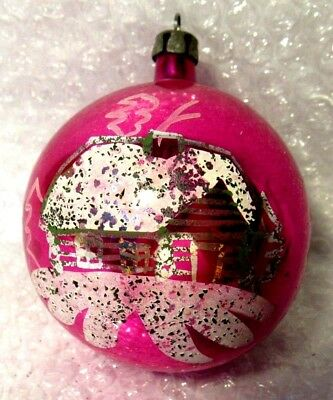 Antique Hand Painted Pink Cabin Christmas Ornament Glass Poland