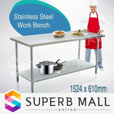 Stainless Steel Kitchen Food Work Bench & Catering Food Prep Table 152cm x 61cm
