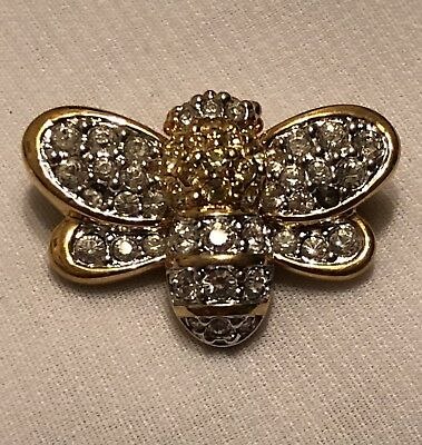 Swarovski BEE Bug Fly INSECT Crystal Rhinestone SMALL PIN BROOCH Retired VINTAGE