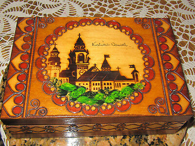 Vtg. Souvenir Polish Krakow Wawel Castle Wooden Hinged Pyrography Stained Box