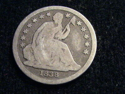 1838 Seated Liberty Silver Dime, full date    D867