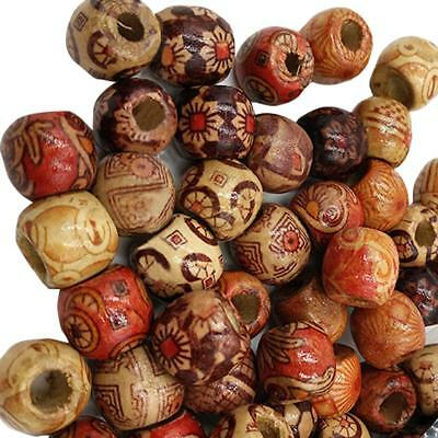 AU 200Pcs 12MM Mixed Large Hole Boho Wooden Beads DIY Crafts Bracelet Macrame