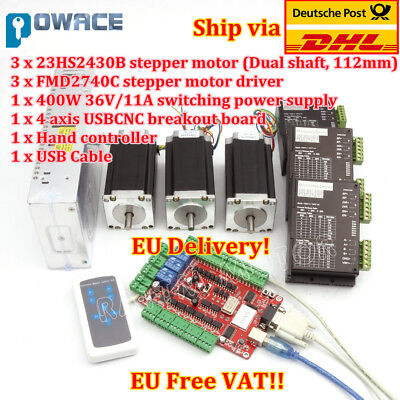 3 Axis USB CNC Controller Kit CNC Nema23 425oz-in (Dual shaft) Schrittmotor【UK】