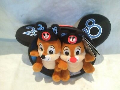 2018 Dated Disney Parks Mickey Ear Hat With Attached Chip And Dale Plush