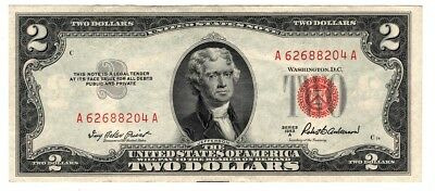 ✯ 1953 Two Dollar Note Red Seal ✯$2 Bill ✯US CURRENCY✯OLD MONEY✯