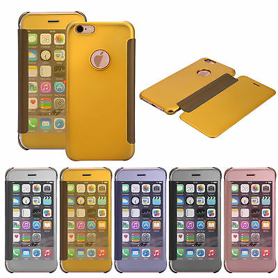 For Apple iPhone 5 6s 7 Plus Case Mirror Clear View Window Slim Smart Flip Cover
