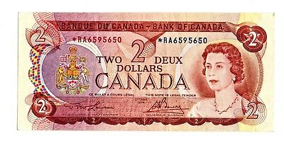 1974 Canada Rare $ Two Dollar *RA Prefix Replacement Note, Nice and Crisp VF/EF