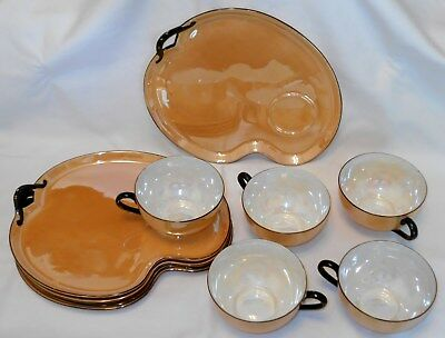 10 Pc Noritake Orange Black Lustreware China Cup/ Snack Plate Sets Green M Japan