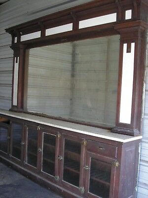 Antique 10' Back Bar. Original Finish Drug Store Bar Tavern Bar Saloon Man Cave