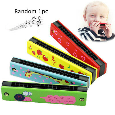 Wooden/Metal Painted Harmonica Kids Musical Instrument Music Toy random color BN