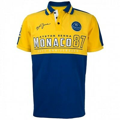 Ayrton Senna F1 1st First Victory Monaco 87 POLO Shirt MENS Blue Yellow OFFICIAL