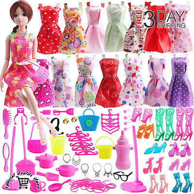 130 Pcs Doll Clothes Huge Lot Gown Outfits Barbie Girl Party Accessories Gift