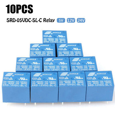 10 PCS 5V-24V 10A SRD-12VDC-SL-C Type Mini 5 Pins Relay DC HOOOT BIN
