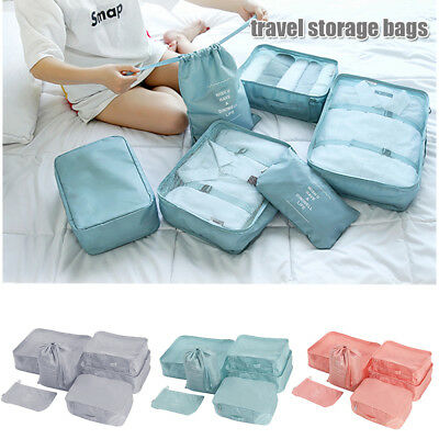 6Pcs Travel Storage Bag Waterproof Clothes Packing Cube Luggage Organizer Set