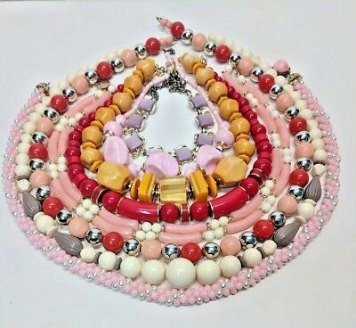 Lot of 8 Chunky Vintage Plastics Beaded Necklaces Untested Great Colors Clasps +