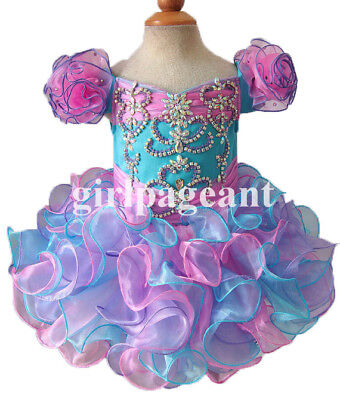 Infant/toddler/baby rhinestone&Crystals blue/pink Pageant Dress 080