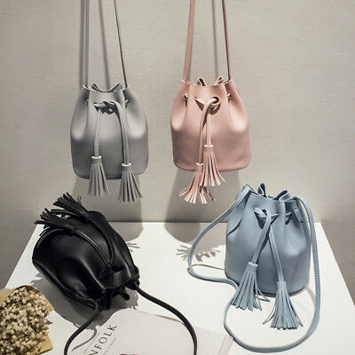 Women Bucket Bag Handbag Tassel Drawstring Messenger PU Leather Crossbody Bags