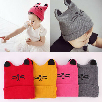 Kids Baby Toddler Cat Ear Knitted Crochet Beanie Cap Boys Girls Winter Warm Hats