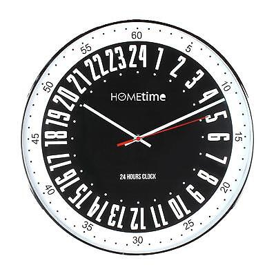 Large 40cm Chrome Plated Cased Black Bold Classic 24 hour Dial Quartz Wall Clock