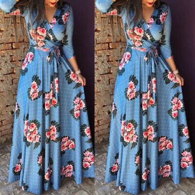 Women Long Floral Casual Dress Ladies V Neck Cocktail Party Maxi Dress Plus Size